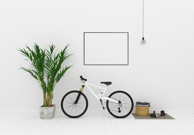 Białe wnętrze - pokój z rowerem