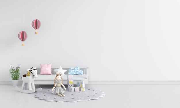 Białe wnętrze pokoju dziecięcego do makiety