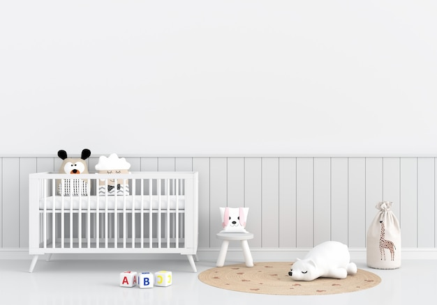 Białe wnętrze pokoju dziecięcego z łóżeczkiem i zabawkami