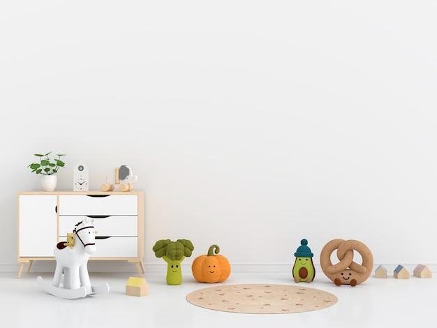 Białe wnętrze pokoju dziecięcego z miejsca na kopię