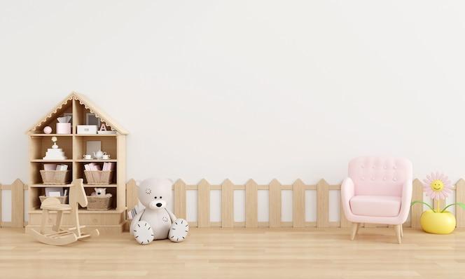 Białe wnętrze pokoju dziecięcego z miejscem na kopię