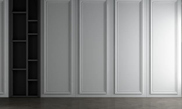 Białe wnętrze salonu i puste tło wzór ściany