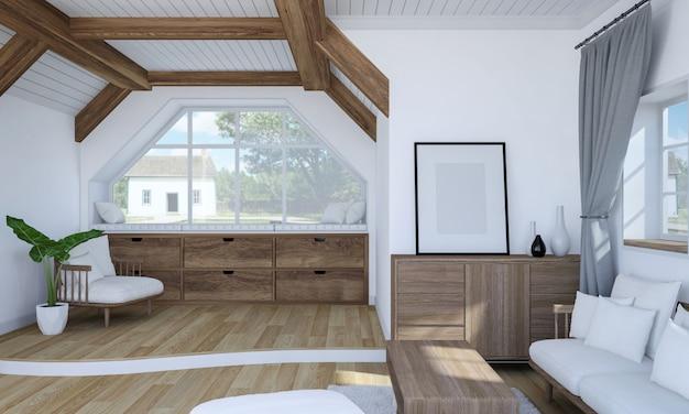 Białe wnętrze salonu z drewnianymi meblami i dwupoziomową podłogą, renderowanie 3d