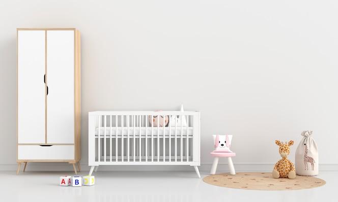 Białe wnętrze sypialni dziecka z miejsca na kopię