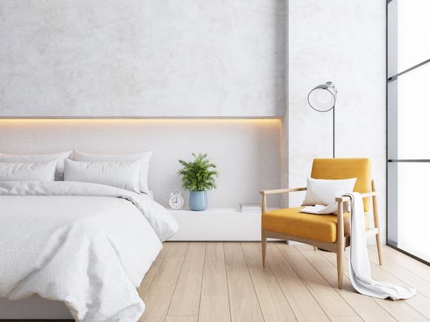 Białe wnętrze sypialni, przytulna przestrzeń, nowoczesny design, renderowanie 3d