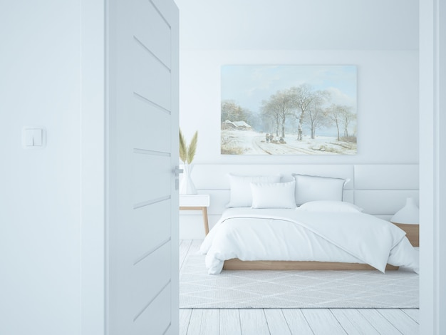 Białe wnętrze sypialni w stylu skandynawskim