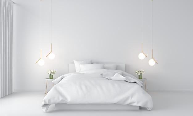 Białe wnętrze sypialni
