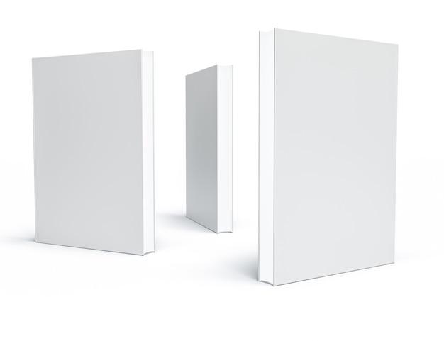 Białe zamknięte księgi na białym tle.