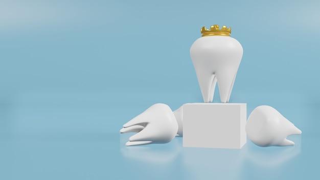 Białe zęby na niebiesko do renderowania 3d treści medycznych i zdrowotnych