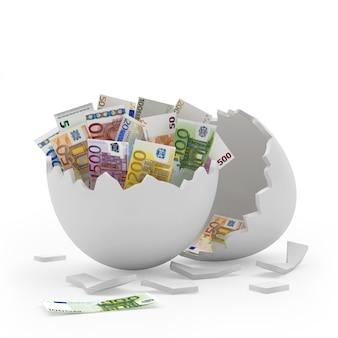 Białe złamane skorupki jajka pełne rachunków w euro
