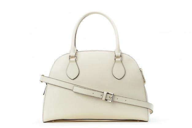 Białej skóry żeńska torba odizolowywająca nad bielem