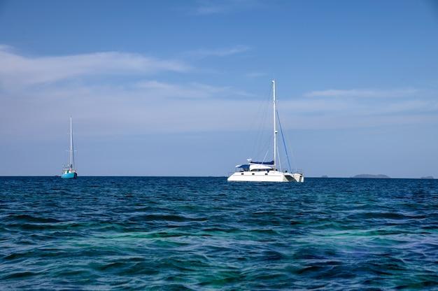 Biali jachty żegluje w tropikalnym morzu