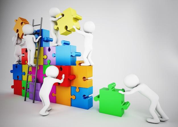 Biali ludzie budują firmę za pomocą puzzli. pojęcie partnerstwa i pracy zespołowej