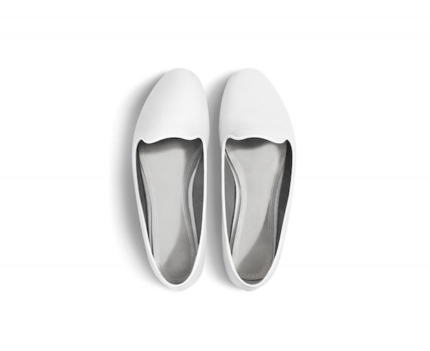 Biali puści kobieta buty odizolowywający, odgórny widok