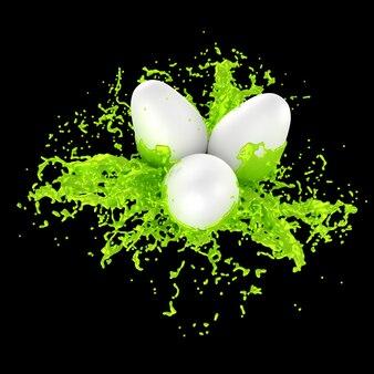 Biali wielkanocni jajka z kiści farby 3d ilustracją