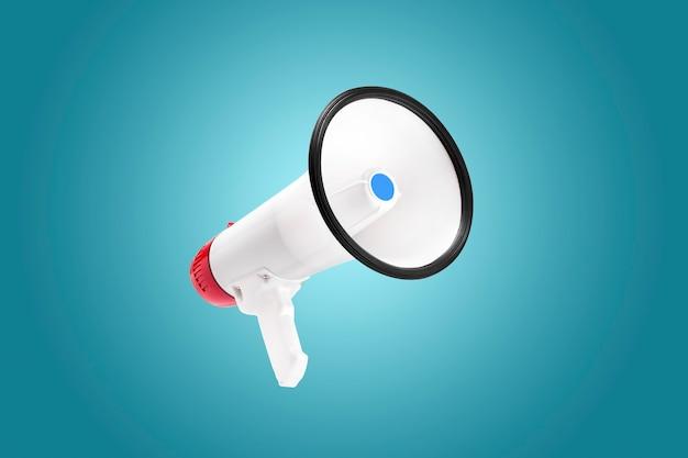 Biało-czerwony kolor megafon na niebieskim tle z podświetleniem w środku, zapowiedź koncepcji uwagi