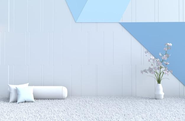 Biało-niebieska poduszka na wystrój pokoju, dywan, orchidea na gwiazdkę
