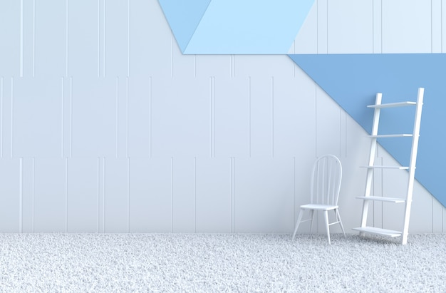 Biało-niebieski wystrój pokoju krzesło, dywan, regał na boże narodzenie, nowy rok.