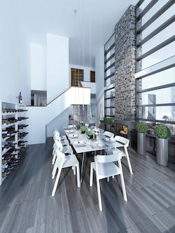Biało udekorowany stół z białymi krzesłami i kominkiem z kamiennym kominem ze stojakiem na wino.