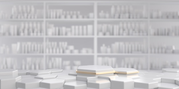 Biało-złoty sześciokątny cokół z białą kosmetyczną półką ekspozycyjną. renderowania 3d.