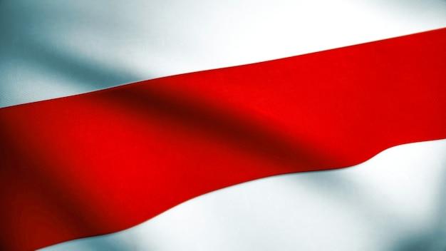 Białoruś czerwony biały czerwony flaga wolności. macha tkaniny tekstury flaga białorusi. pahonia arms używane przez białoruską opozycję demokratyczną w 2020 roku. renderowanie 3d.