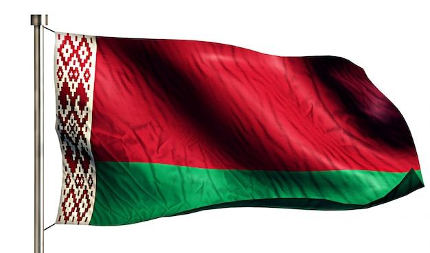 Białoruś flaga narodowa pojedyncze 3d białe tło