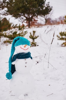Biały bałwan stoi i uśmiecha się w niebieskim szaliku i kapeluszach