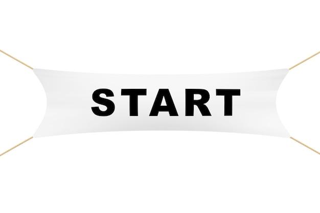 Biały baner startowy z linami na białym tle. renderowanie 3d.