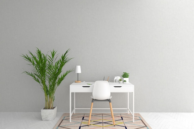 Biały biurko w skandynawskim wewnętrznym grafiki tle