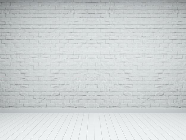 Biały cegła drewno podłogi emty pokój wnętrze 3d render