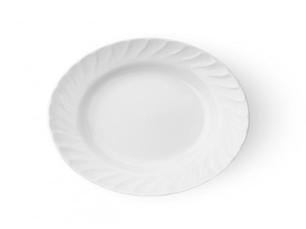 Biały ceramics talerz na białego tła odgórnym widoku