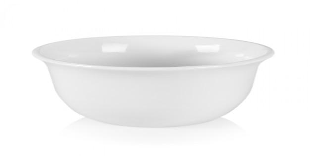 Biały ceramiczny puchar na białym tle