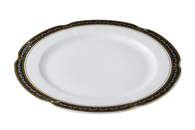 Biały ceramiczny stołowy talerz z złotą granicą odizolowywającą na białym tle