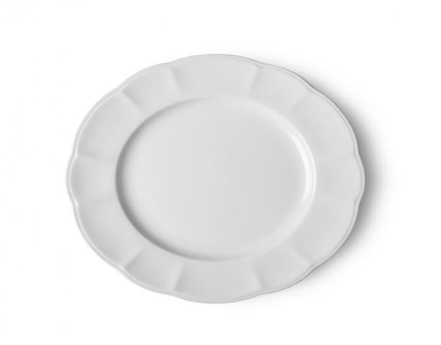 Biały ceramiczny talerz na biel przestrzeni