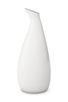 Biały ceramiczny wazon na białym tle