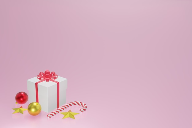 Biały czerwony prezenta pudełko, bożenarodzeniowe piłki, bożenarodzeniowy cukierek i złoto gwiazda na różowym tle, 3d rendering.