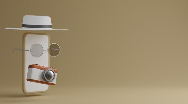 Biały ekran mobilny, okulary przeciwsłoneczne, kapelusz i aparat na brązowym tle koncepcja podróży. renderowanie 3d
