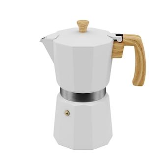 Biały ekspres do kawy moka renderowania 3d