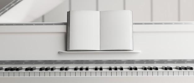 Biały fortepianowy fortepian z przyciętym fortepianem z książką muzyczną instrument muzyczny renderowanie 3d