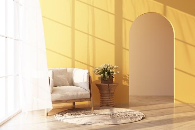 Biały fotel na drewnianej podłodze przez okno wpada światło i padają na nie cienie. z żółtą ścianą i czystym renderowaniem 3d