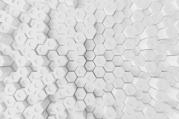 Biały geometryczny heksagonalny abstrakcjonistyczny tło, 3d rendering
