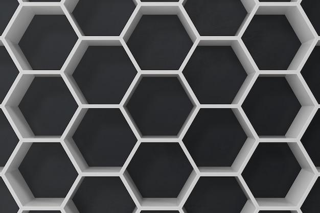 Biały geometryczny heksagonalny abstrakcjonistyczny tło z czerni ścianą, 3d rendering