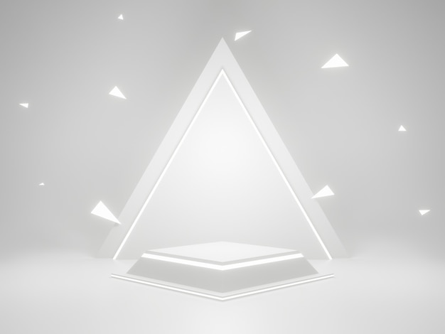 Biały geometryczny stojak na produkty z neonowymi światłami. renderowanie 3d.