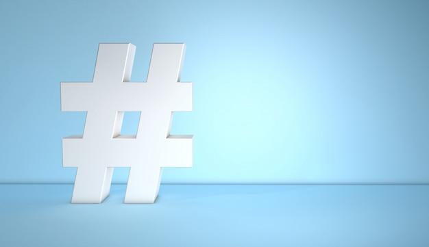 Biały hashtag na niebieskim tle z miejsca na kopię