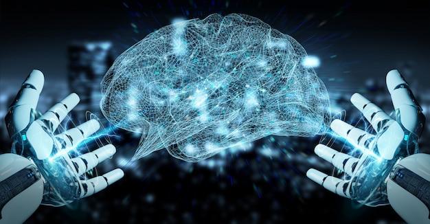 Biały humanoidalny hanid tworzący trójwymiarową sztuczną inteligencję