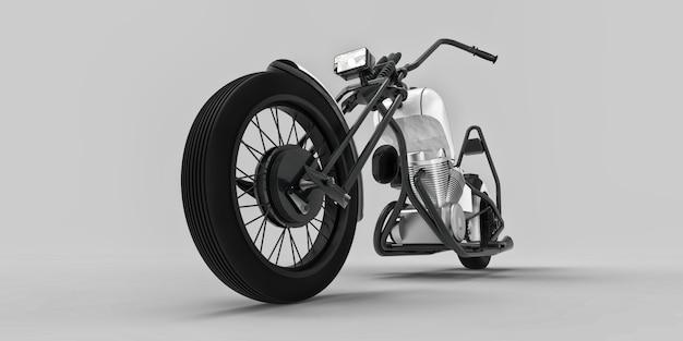 Biały i czarny klasyczny motocykl na zamówienie