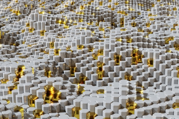 Biały i złoty sześciokąt tekstury tło z błyszczącymi gwiazdami. 3d świadczonych ilustracji.