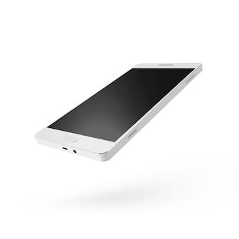 Biały inteligentny telefon na białym tle