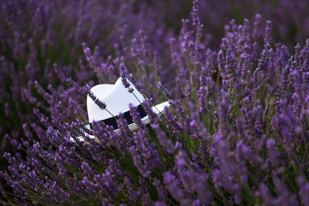 Biały kapelusz na lawendowym polu w prowansji