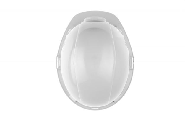 Biały kask budowlany. pojęcie architektury, budownictwa, inżynierii, projektowania. skopiuj widok z góry